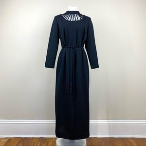 Vintage Belted Cut Out Maxi Dress 70s